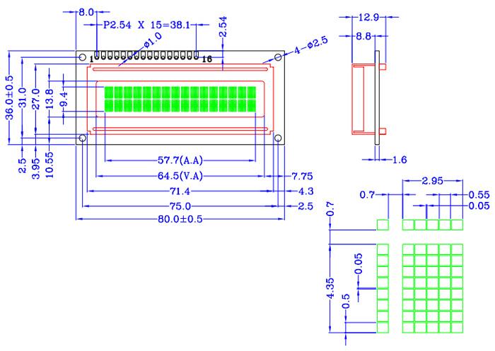 屏 16(文字)*2(行)       ● 补充说明:以上lh1602a点阵字符液晶模块